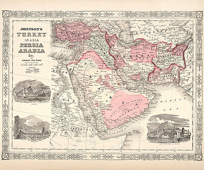 1864 Map of Turkey Persia and Arabia