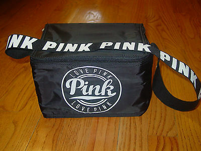 "Victoria's Secret PINK Mini Cooler Lunch Bag Insulated Black ""Love-Pink"" NEW 8X6"