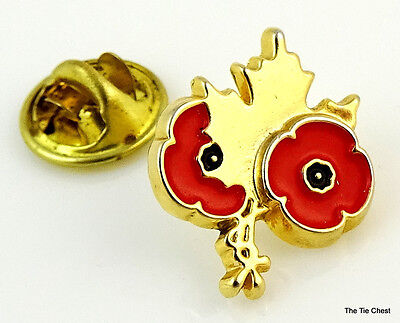 Canadian Remembrance Day Pin Canada Maple Leaf Red Poppy