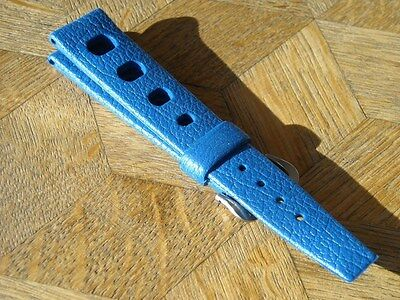 Genuine N.O.S. TROPIC SPORT Swiss Made strap. 18 mm. PETROL BLUE.