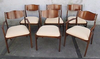 SET OF SIX JOHN STUART WALNUT DINING CHAIRS mid century modern arm side