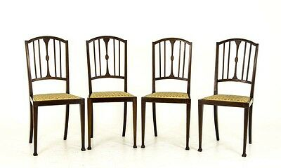Reduced 50%!  4 Edwardian Side Chairs, Walnut, Upholstered Seats, 1910, B591