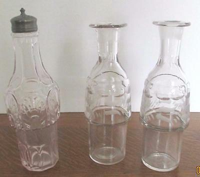 3~Antique Vintage Cruet Bottle Replacement Etched Clear Glass~1 Turning Purple