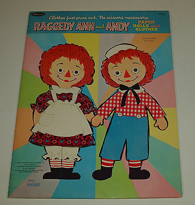 Vintage 1966 Whitman RAGGEDY ANN & ANDY Myers Paper Dolls Uncut Complete