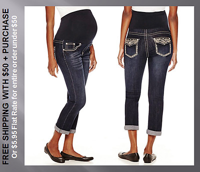 $55 New Plus Maternity 2X Bling Cropped Capri Fitted Stretch Dark Jeans