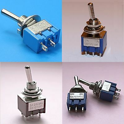 DPDT SPDT SPST Mini Toggle Switch 6 PIN 3 PIN ON OFF ON/ON ON/ON OFF 2-Way 3-Way