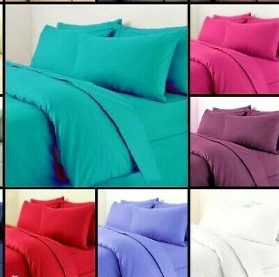 Duvet Cover (Plain Dyed) & Pillowcase Bedding Set Single Double King FREE P&P