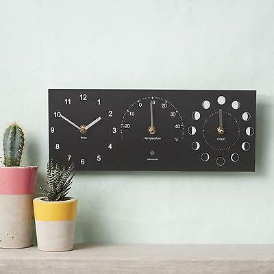 Eco Recycled Outdoor Garden Clock Thermometer & Moon Dial Station Black Metal