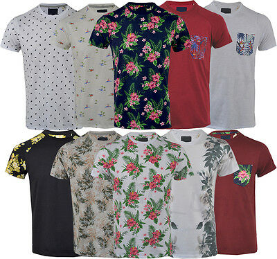 Mens Hawaiian Fashion Floral T- Shirt Short Sleeve Casual Cotton Summer Top Vest