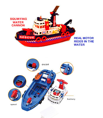 Kids Baby Bath Boat Toy Boat Squirting Rescue Ship SQUIRTS AND RIDES IN BATH!