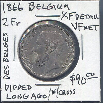 Belgium - Fantastic Leopold Ii Silver 2 Francs (2 Frank) With Crown, 1866