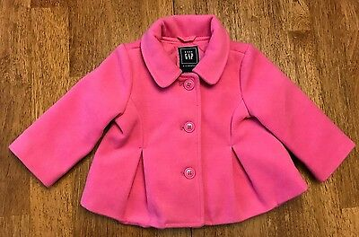 Girls Baby GAP 3 Button Swing Jacket Long Sleeve Pink Lined Size 6-12 Months
