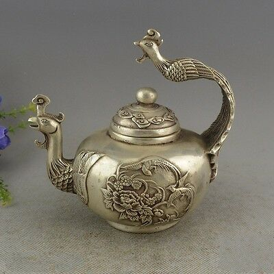 China Collectible Miao Silver Handwork Bird King Phoenix Teapot