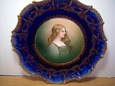 ANTIQUE EMPIRE CHINA VICTORIAN LADY PORTRAIT PLATE COBALT BLUE & GOLD w/ HANGER