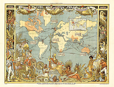 Extent of the British Empire in 1886 Vintage Map A1 High Quality CanvasPrint