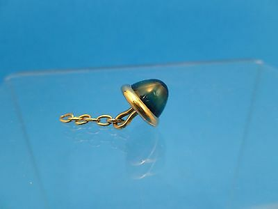 Antique Art Deco 9ct Banded Sapphire Blue Glass Cabochon Yellow Gold Button 3.4g