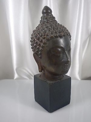 LAN NA Bronze Fragment Head of BUDDHA Antique 18/19 century Statue THAI SIAM