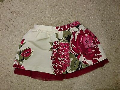 EUC Baby Gap Toddler Girl Floral Pink And Red Skirt Size 12-18 Months