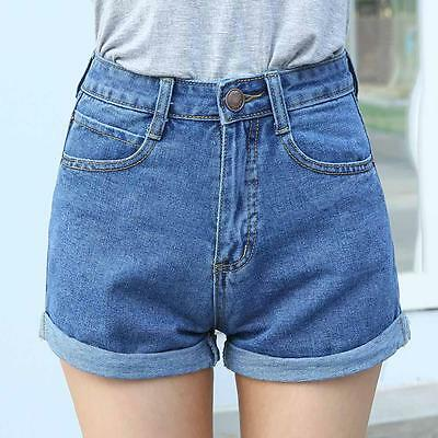 Women Mini Jeans Denim Pants High Waisted Washed Ripped Hole Short Shorts Summer