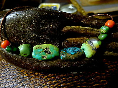 Beautiful Antique Tibetan Turquoise & Coral Beads String
