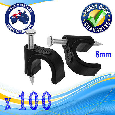 100 x RG6 QUAD CABLE CLIPS 8MM BLACK MASONRY HAMMER NAIL IN CABLING HOOK TOOL