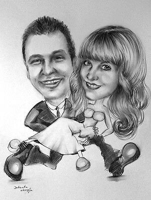 A3 Personalised Custom Caricature of Two people from a Photo(s)