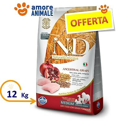 Farmina N&D Low Grain Dog Adult Medium Pollo e Melograno 12 kg - Crocchette cane