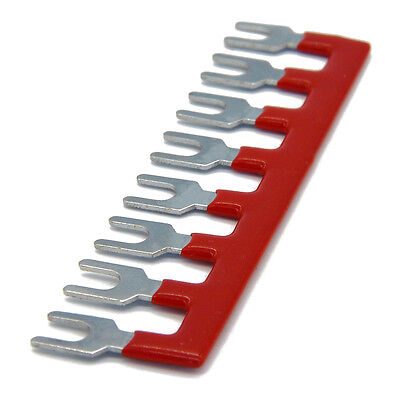 600V 25A 8 Postions Pre Insulated Terminal Barrier Strip Red 5 Pcs
