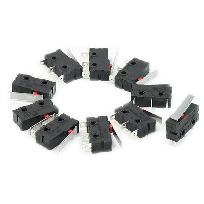 10 Pcs AC 125V 5A SPDT 1NO 1NC Short Straight Hinge Lever Mini Micro Switch