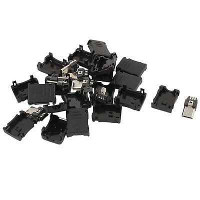10PCS 5-Pin Micro USB Type B Male Plug Connector Plastic Cover