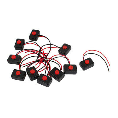 10 x AC 250V 3A 2 Wire Plastic Momentary Push Button Switch for Car Auto Horn