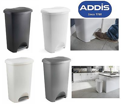 Addis 50L Foot Pedal Bin Dustbin Plastic Rubbish Paper Waste Kitchen Office Bins