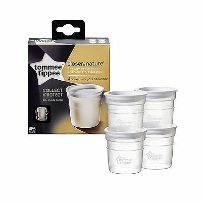 NEW x4 Tommee Tippee Breast Milk Storage Pots Containers Closer to Nature Baby