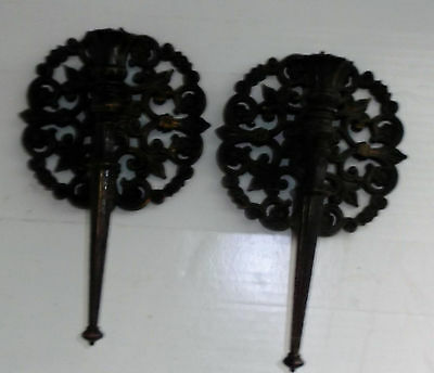 #4148 Set Of 2 BLACK & GOLD WALL SCONCE CANDLE HOLDERS Homco  Home Interior