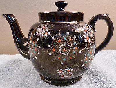 Antique Price Bros black English teapot gold filigree, colorful enamel beading