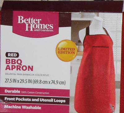 NEW Better Homes Gardens Red BBQ Apron Pockets Loops Durable Limited Edition