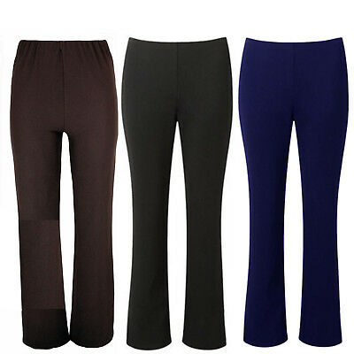 Ladies Womens Boot Cut Leg Stretch Ribbed Office Trousers Elasticated Waist Size