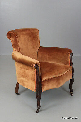 Antique Edwardian Copper Upholstered Armchair