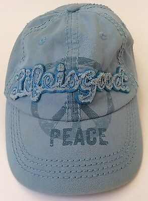 Blue Life Is Good Peace Sign Youth Child Girls Strapback Cotton Baseball Cap Hat