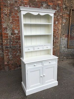 Farmhouse Country Style Painted White Pine Kitchen Dresser - Kitchen Cabinet