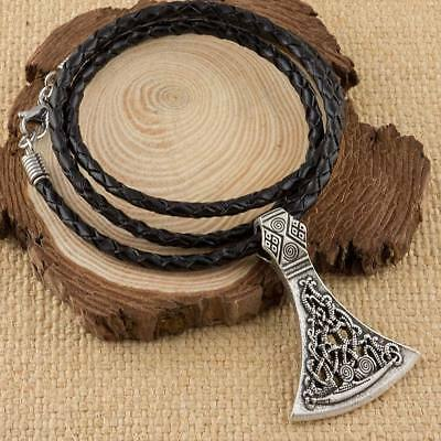 Viking Axe Head Pendant With Handmade Real Leather Necklace