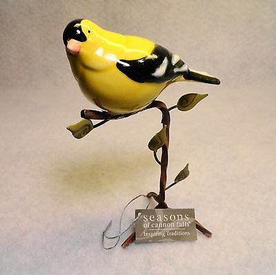 Lovely hand painted porcelain GOLD FINCH figurine mounted on custom stand w/tag