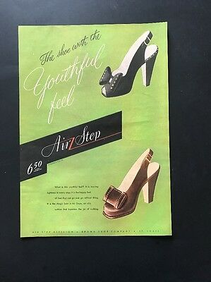 Air Step Woman's Shoes  | 1945 Vintage Print Ad | Large Illustration