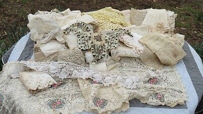Antique VTG Large Lot Pretty Lace Edging Crafts Salvaged 3 Pound Collection
