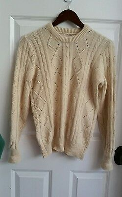 Vintage Jacques De Loux 100% Cashmere Sweater Cable Womens Sz Small Beige.