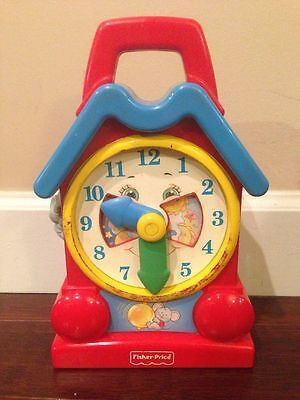 Preschool Vintage Fisher Price Toy Clock- Plays Music When Wound! Model # 5706 @