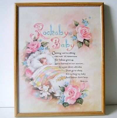 Vintage Childrens Rockabye Baby Poem Picture with Glass Metal Frame