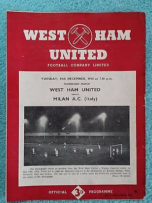 1954 - WEST HAM UTD v AC MILAN PROGRAMME - FRIENDLY