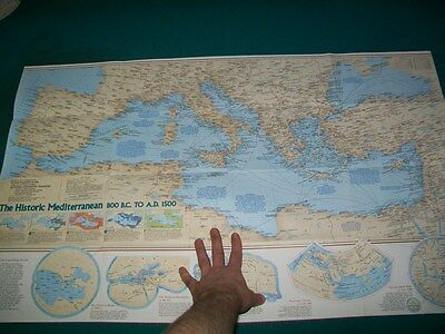 Large Vintage National Geographic Map Historic Mediterranean Spain Italy Sicily