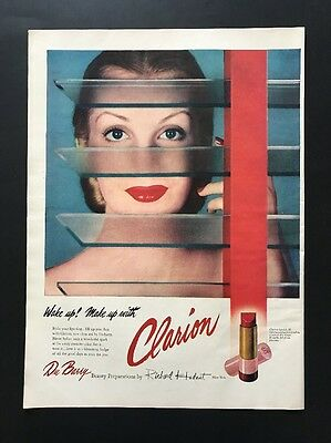 Clarion Lipstick | 1945 Vintage Print Ad | Large Ad  Woman's Cosmetics